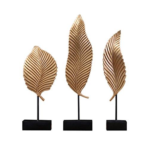 Drei Blätter Form Ornamente Skulptur Wohnzimmer Schlafzimmer Veranda Korridor Dekoration (Farbe : Gold) -