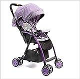 QZX Kinderwagen Leichter Reise-Buggy Faltbarer Kinderwagen 5-Punkt-Sicherheitssystem Unabhängig verstellbare Sitze Leichtes Gewicht,Purple