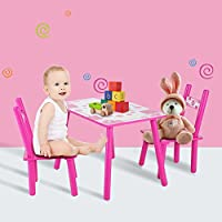 Children Table with 2 Chairs, Wooden Kids Studying Desk Playing Table Painting Home School for Girls or Boys, Magenta Flower