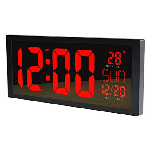 PLEASUR GroßE Led Wanduhr, Smart Digital Mit Thermometer Kalender Alarm Countdown Timer Hangable Stummschaltung FüR Home Office Turnhallen The Mall Hospital Subway, red -