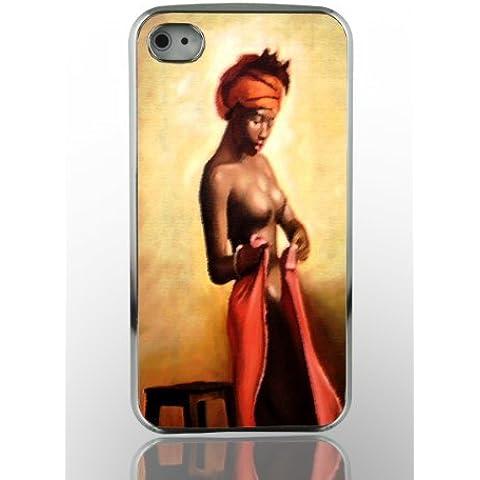 Cellulare custodia per iPhone 4 G 4 4S Cover rigida in Chrome ottica Design Custodia Cover Custodia Bumper per custodia per Smartphone - African Woman - donna in Africa immagine