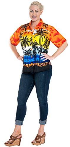 La Leela Strand Surfer Klassische Kurze Hülsenknopf Unten Damen 4 in 1 Hawaii Party Karibik Thema Casuals Urlaub Lounge Geschenk Bluse Regular Fit Top Kleid Hawaiihemd Leichte Likre Rot Orange