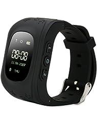 FREESOO GPS intelligente Uhr Kinder LED, Kinder Positioniren Telefonieren Alarm Werker SOS für Hilfe Fern Reden Schritte Zählen, Schwarz