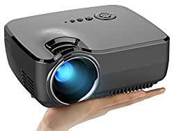 Micro Projector (Warranty Included), Support Full HD 1080P, ERISAN Multimedia Mini Portable LCD LED Home Theater Projector, Support DVD HDMI USB SD AV VGA TV Video Games Movie Music-S70GP (Black)