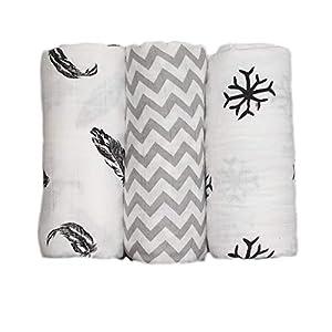 3 pcs Baby Swaddle Blanket, Newborn Baby Soft Cotton and Bamboo Muslin Washcloth Bath Towel, Infant Cartoon Bathing Towel, Sleeping Blanket, 120 x 120cm