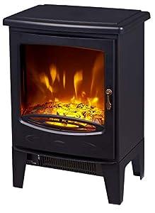 FoxHunter Electric Log Burner | Steel Flame Effect 3D Heater | Vintage Cast Iron Indoor Home Freestanding WoodBurner Fireplace | Coal Burner Fire Fake Flame | 1850W - 18D3PL Black