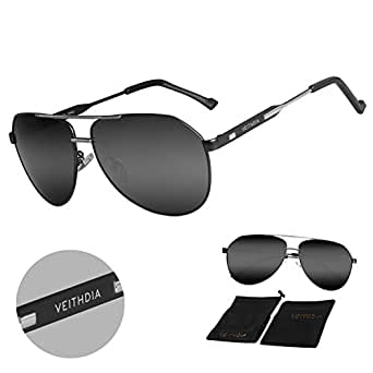 6a5684f817 Image Unavailable. Image not available for. Colour  VEITHDIA 3562 HD Vision  UV400 Polarized Aviator Sunglasses ...