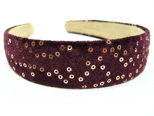 rougecaramel - accessoires cheveux - Serre tête/headband large velours - prune