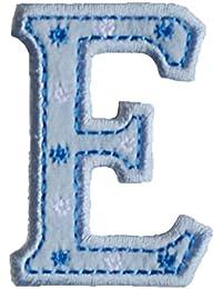 E maiuscolo 5cm azul Bautizo Bautismo Arte Arreglar Apliques para reparar almohada bolsa roca banderín mochila
