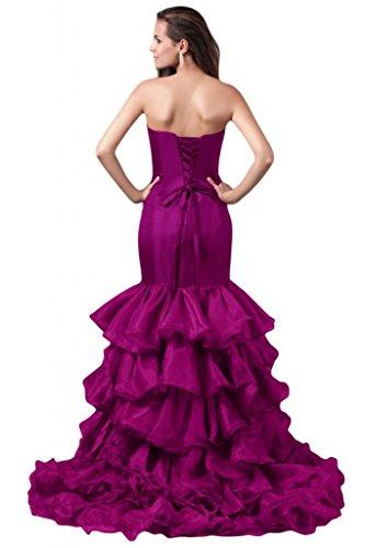 Sunvary elegante sirena raso abito da sera lungo della linea Sweetheart vestito formale rosa fucsia