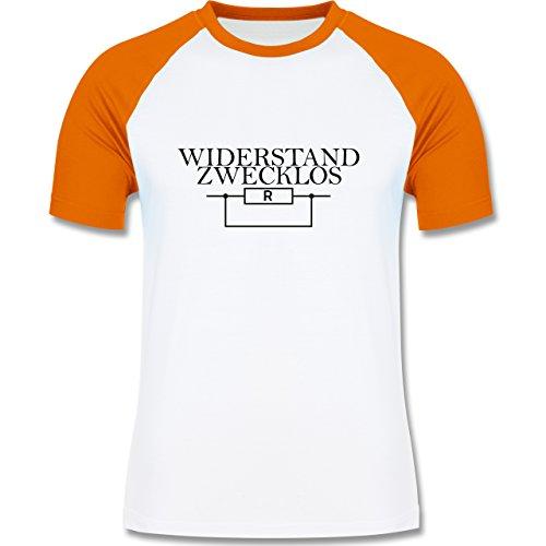 Lehrer - Widerstand zwecklos - zweifarbiges Baseballshirt für Männer Weiß/Orange