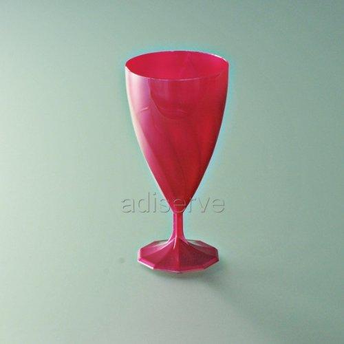 6 verres à vin plastique jetable Rose Magenta - Adiserve -