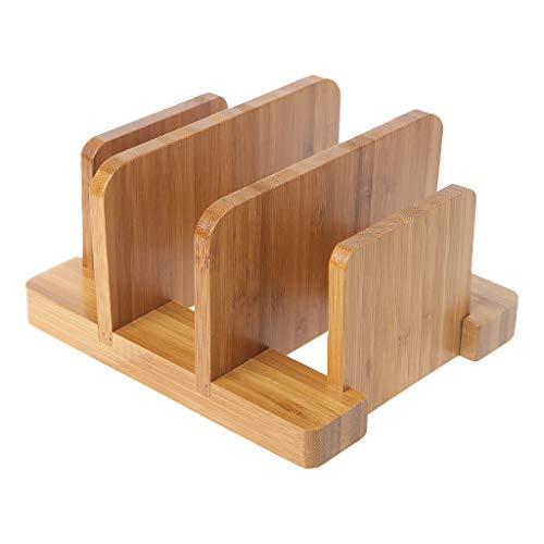 FlYHIGH Bambus Schneidebrett Lagerregal Topf Deckel Halter Veranstalter Regal Küche Dekor - Schneidebrett Veranstalter