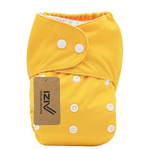 iZiv(TM) Neugeborene Organisch mit 1 Dick Insert wasserdichte Säuglings/Einstellbare/Fachverwendbare/Waschbare Tuch Windeln für Babys 0-3 Jahre(Gelb)