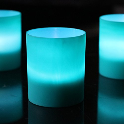 Flickering Tealights Teal Green Candle Holders Flameless Battery Event Dinner Decoration Set of 6 - LED White by PK Green