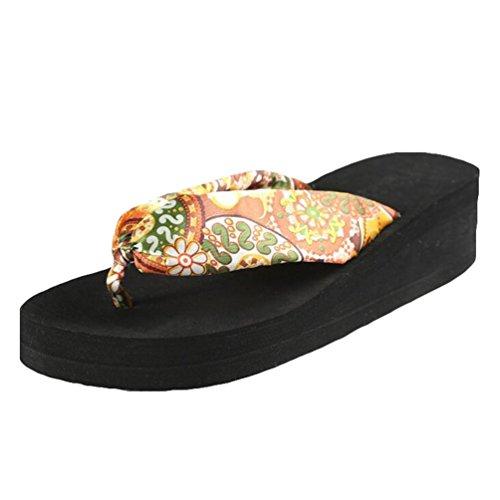 Yiiquan Damen Sommer Plateau Flip Flops Schuhe Sandalen innen & Outdoor Zehentrenner Schwarz #1