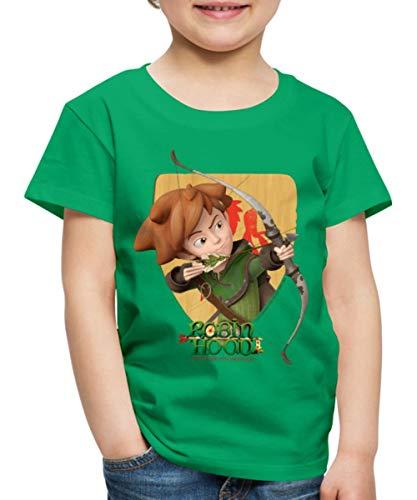 Spreadshirt Robin Hood Schießt Mit Seinem Bogen Kinder Premium T-Shirt, 122/128 (6 Jahre), Kelly Green Robin Hood Shirt