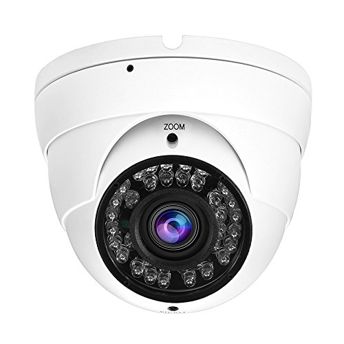 CCTV Dome Camera, Hykamic HD 1080P 2.0MP 4-in-1 AHD/CVI/TVI/960H Security Cameras, 2.8-12mm Varifocal Lens with 36pcs IR Lights, Waterproof IP65 Outdoor Day/Night Version Surveillance Camera (White) - Sicherheit-video-direct