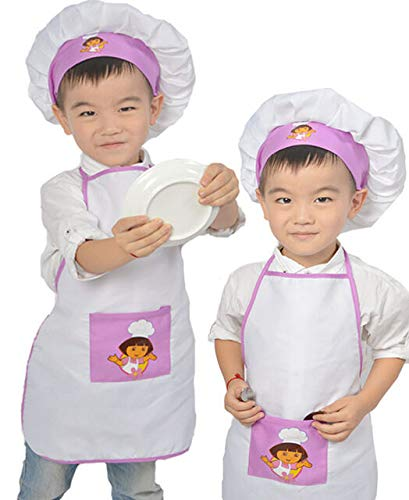 FidgetGear Schürzen-Set für Kinder, zum Kochen, Malen, Schürzen und Kochmützen, Babyschürze weiß/violett