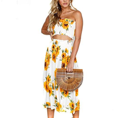 MOIKA Damen Outfits, 2018 New Mode Frauen Sommer Strand Sonnenblume Druck Weste Shirt Tops Bluse Röcke 2 STÜCKE Set (XL, Gelb)