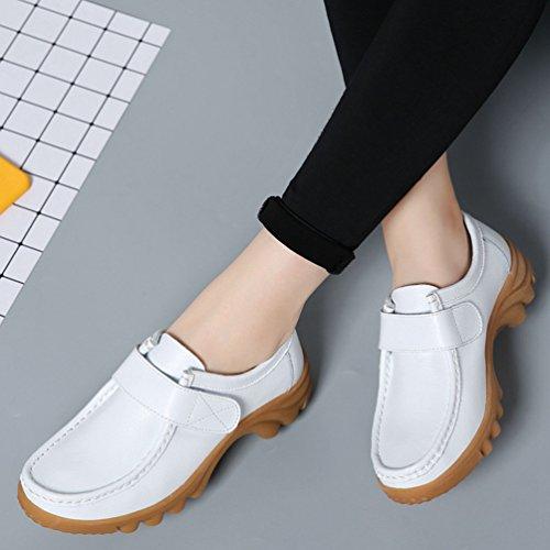 Yiiquan Femmes Bureau&Carrière Décontractée Glisser Sur Confort Cuir PU Flâneur épaissir Chaussures Velcro Blanc # 2
