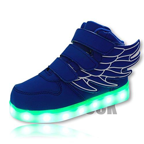 DoGeek Scarpe LED bambini Scarpe Che Illuminano Scarpe Tennis Luminose Scarpa Bambino Scarpe da Ginnastica Donna la Sportiva Scarpe con Luci Sneakers Blue