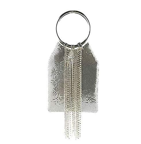 Mesh-kupplung (ASDFGH Armband Handle-Cocktailparty-Hochzeits-Kupplungs-Kristall-Troddel-Handtasche Toter Metal Mesh Abendtasche (Color : Silver))