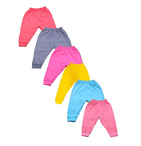 Montu Bunty Wear Baby Track Pant Soft Cotton With Rib Design (Pack of 6) (Darkleggings-pack6-s_Multicolour_0-3 Months)