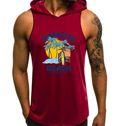 Herren Ärmelloser Kapuzenpullover T-Shirt mit Kapuze Tank-Top aus Baumwolle Pullover und T-Shirt S-XL Tops Männer Hoodie CICIYONER - Tank Ac Dc Top