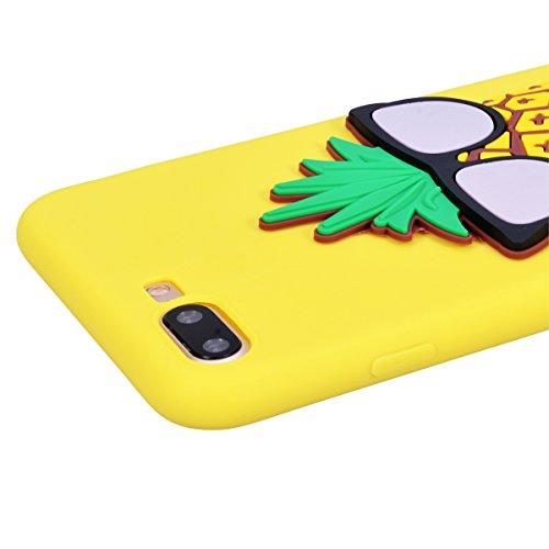 Yokata Cover per iPhone 7 Plus Silicone Disegni Rigida Case Originale Fantasia Divertenti Caso Custodia gel Gomma TPU Morbido Ultra Slim Impermeabile Antiurto Protettiva Shell + Penna - Cane in bianco Giallo Ananas