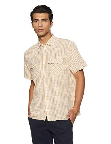 Marks & Spencer Men's Checkered Regular Fit Casual Shirt (6970I!_Dark Gold!_M)
