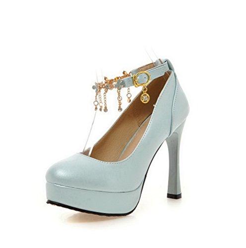 Damen Rund Zehe Ziehen auf PU Leder Eingelegt Hoher Absatz Pumps Schuhe, Weiß, 35 AllhqFashion