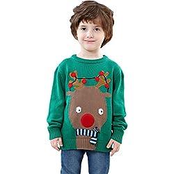 Shineflow niños Rudolph Reno Nariz Roja Ugly Christmas Sweater Suéter Verde