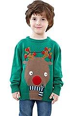 Idea Regalo - Shineflow, maglione verde natalizio Ugly Christmas Sweater, per bambini grandi e piccoli, con renna Rudolph dal naso rosso Green 4 Anni