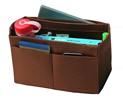 [Passt verschiedene Taschen, L.V. Her.mes Long.champ Go.yard] Filz Tote Organizer (w/Milk Wasserflaschenhalter), Geldbörse einfügen, Kosmetik-Make-up Windel Handtasche, Taschen -