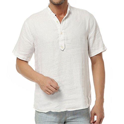 Najia symbol camicia shirt henley di 100% lino collo alla coreana manica corta estiva uomo (bianco, s)