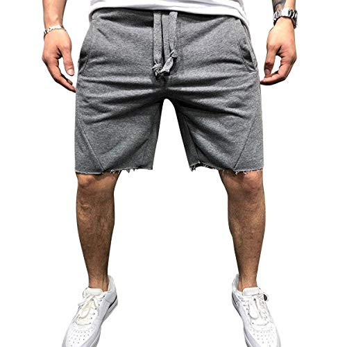 Cindeyar Herren Sport Joggen Training Shorts Fitness Kurze Hose Baumwolle Sweatshort Sporthose Männer Laufhose Sport Hosen(DGA,2XL) - Baumwolle Sweat Short