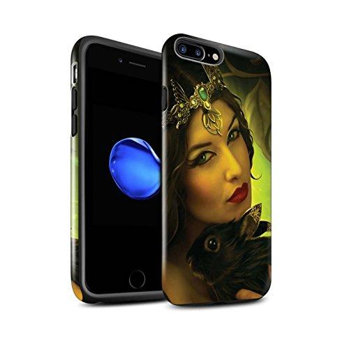 Officiel Elena Dudina Coque / Brillant Robuste Antichoc Etui pour Apple iPhone 8 Plus / Félins/Léopard/Guerrier Design / Les Animaux Collection Couple Forêt/Lapin