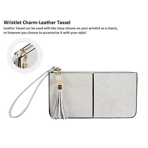 Befen pelle morbida Smartphone Zipper Wallet Organizer con il supporto della carta di credito / tasca contanti / Wristlet- [Fino a 6 x 3.1 * 0.3 pollici del cellulare] Black crema