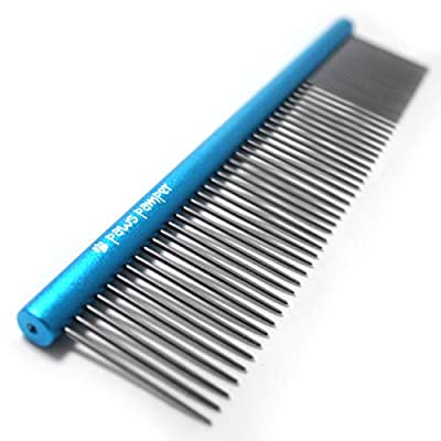 Paws Pamper Professional Grooming Comb for Dogs & Cats, Anti-Corrosion Spine, Tapered Stainless Steel Pins from Paws Pamper