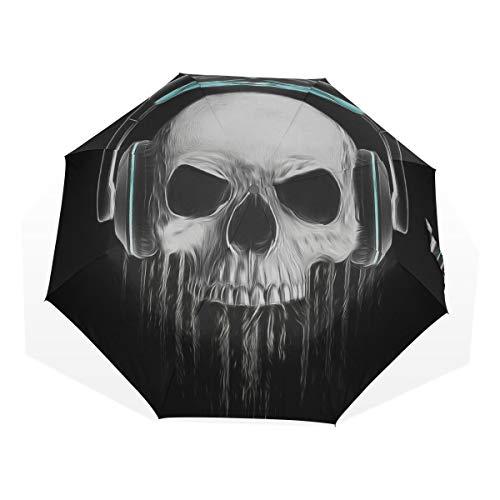 Reisen Regenschirm Skeleton Tragen von Kopfhörern Anti Uv Compact 3-Fach Kunst Leichte Faltbare Regenschirme (Außendruck) Winddicht Regen Sonnenschutzschirme Für Frauen Mädchen Kinder (Zombie-gesichter Für Halloween Für Kinder)