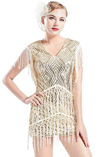 ArtiDeco 1920s Charleston Kleid Mini Damen Vintage Gatsby Kostüm Flapper 20er Jahre Cocktailkleid (Beige, S)