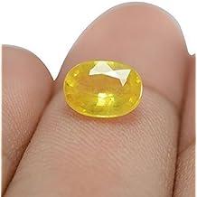 Vaibhav Gems Yellow Sapphire Stone Certified Loose Precious Pukhraj Gemstone 7.25 Ratti