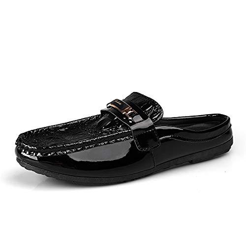 Casual Suede Shoe Patent geprägte Penny Loafers für Männer PU Leder Casual Outdoor Slippers atmungsaktive Flache Slip-on-Schuhe Herren Sneaker (Color : Schwarz, Größe : 41 EU) - Patent-penny Loafer