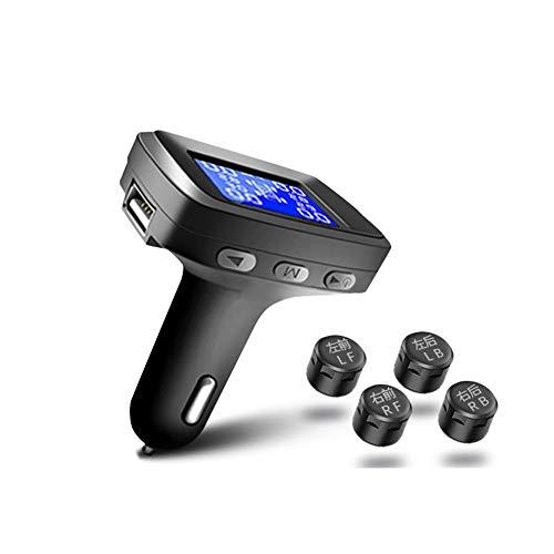TPMS-Reifendruckkontrollsystem mit USB-Anschluss im Monitor, Zigarettenanzünder-Stecker Universal Wireless Car Alarm System LCD-Display mit 4 Sensoren (größe : External Version) Alarm System-sensoren