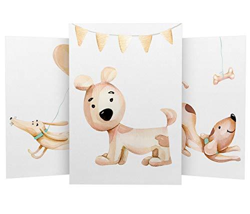 Wandbilder 3er Set für Baby & Kinderzimmer Deko Poster Niedliche Hunde   Kunstdruck DIN A4 ohne Rahmen und Dekoration (Niedliche Hunde)