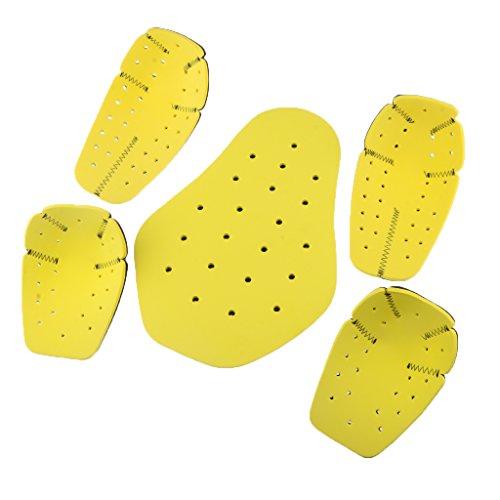 Baoblaze 3 Stücke Schwarz + Gelb Schutzkleidung Motorräder, Ersatzteile Stoßdämpfung Rücken schützen Ellenbogen schützen