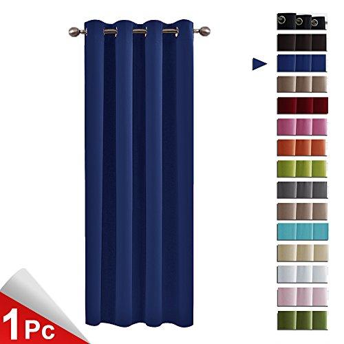 PONYDANCE Blickdicht Vorhang mit Ösen Junge Vorhänge 1 Stück für Badzimmer, 240 x 132 cm (H x B), für Büro, Schlafzimmer, Wohnzimmer Blau - Baby-mädchen-kinderzimmer-fenster-vorhang