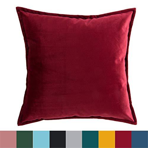 Bedsure Kissenhülle Kissenbezug 45x45 cm Rot für Sofakissen Dekokissen - Samt Kissenbezüge Zierkissenbezug für Weihnachten aus Super Weicher und Flauschiger Uni Farbe Samt