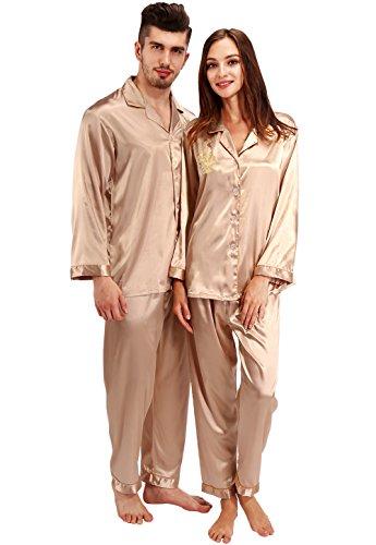 Vislivin Sein oder ihr chinesischer Drache und chinesischer Krandruck Satin-Pyjamas Champagne